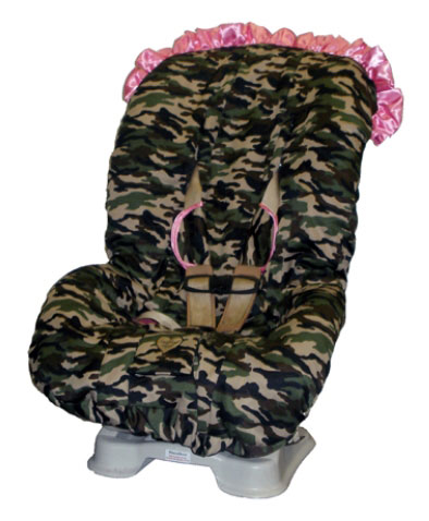 Daddy Camo Pink Trim Toddler Car Seat Cover Detailed Images Image 1