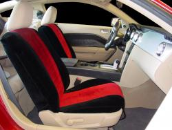 Ford Mustang Two Tone Velour Black With Red Vel Quilt Insert Seat Seat Covers