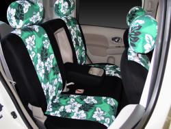 Nissan Cube Green Neo Hawaiian Rear Seat Seat Covers